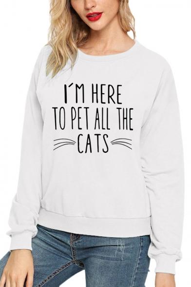 Creative Cat Letter Print Round Neck Long Sleeve Plain Pullover Sweatshirt, LC565353, Black;pink;white;gray;yellow
