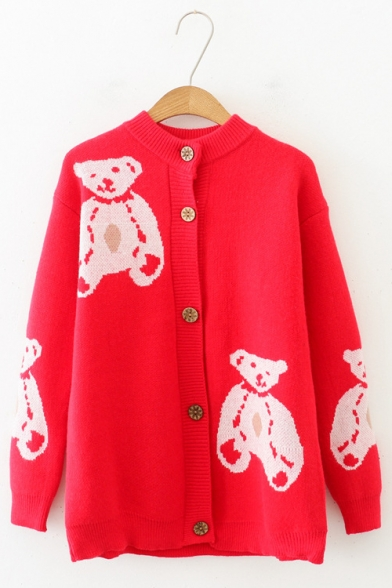 Girls Warm Button Front Teddy Bear Pattern Long Sleeve Chunky Knit Cardigan, LC565519, Black;red