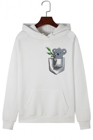 Lovely Koala Animal Pattern Long Sleeve Hooded Fleece Hoodie
