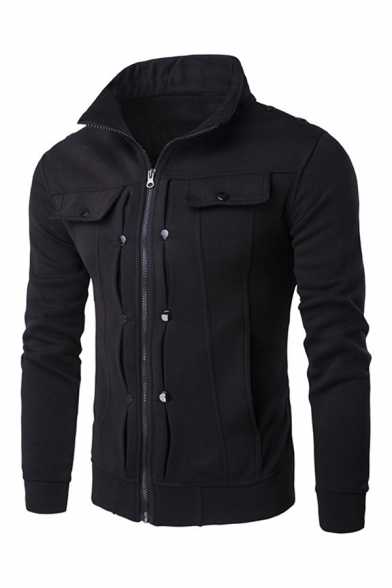 Men Fashion Stand Collar Zipper Solid Color Slim Fit Hoodie Outwear Coat
