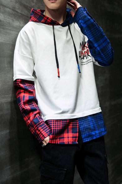 Men's New Trendy Letter MAKE HEART Plaid Patch Print Fake Two-Piece Long Sleeve Drawstring Hoodie