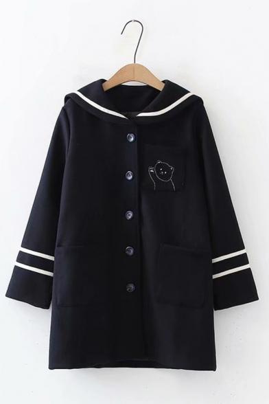 Navy Collar Cartoon Bear Stripe Printed Single Breasted Longline Woollen Coat Jacket