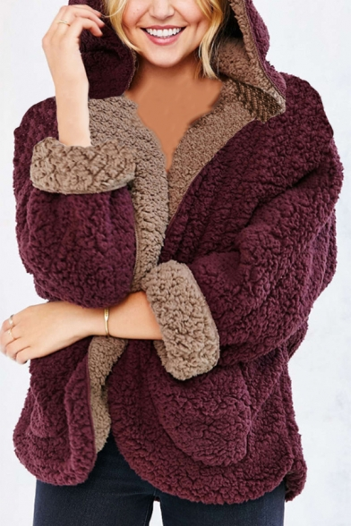 New Fashion Reversible Plain Long Sleeve Faux Fur Teddy Zip Up Hoodie, Black;burgundy;white, LM564664
