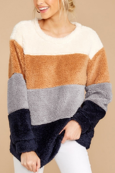 New Trendy Color Block Long Sleeve Round Neck  Relaxed Fluffy Teddy Sweatshirt