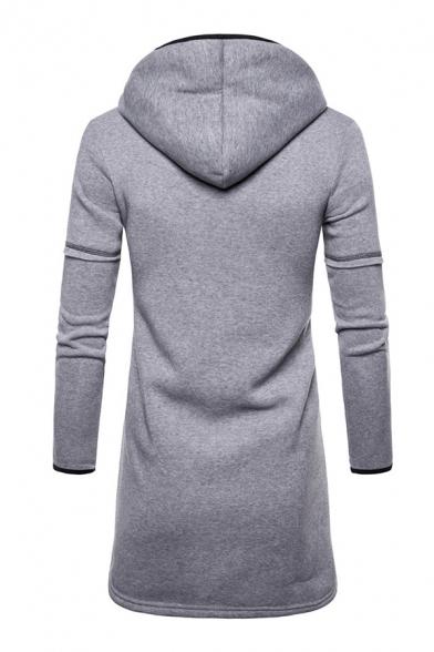 Plain Long Sleeve Longline Lightweight Hooded Cardigan Hoodie with Big Pocket