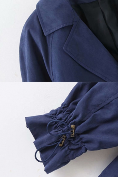 Womens Leisure Lapel Collar Double Button Drawstring Waist Solid Color Short Trench Coat