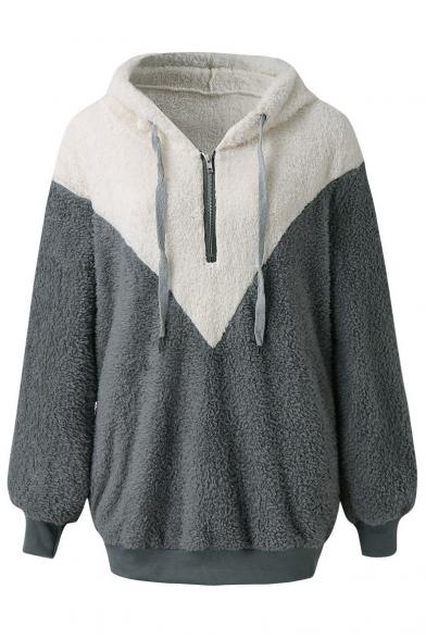 Womens Winter Warm Color Block Long Sleeves Faux Fur Fluffy Teddy Half-Zip Loose Hoodie, Black;gray, LM564512