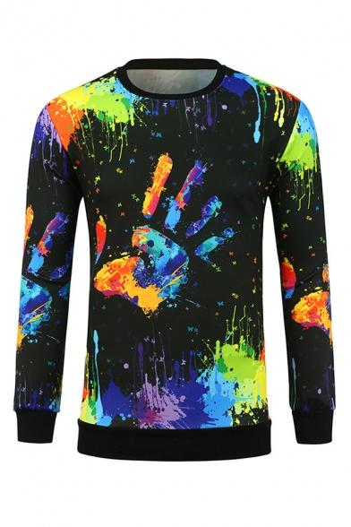 Colorful Splatter Painting Palm Printed Long Sleeve Black Pull Over Sweatshirt