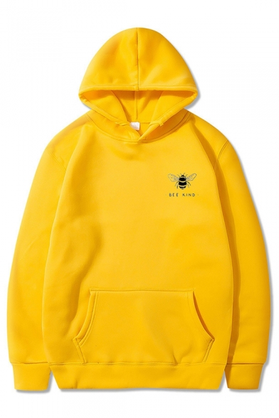 Cute BEE KIND Printed Solid Color Long Sleeve Oversized Hoodie with Pocket