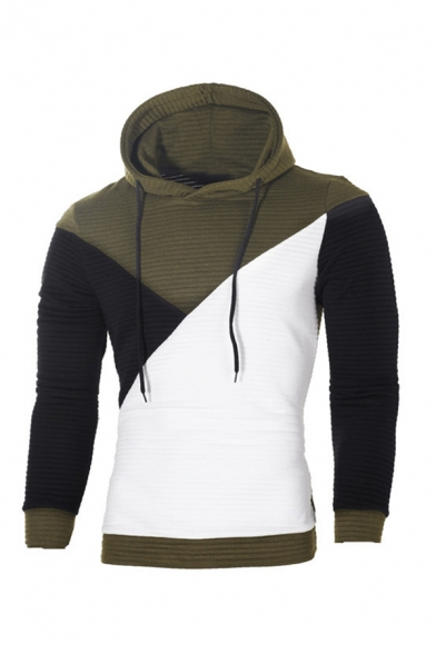 Exclusive Colorblocked Panel Check Embossed Drawstring Hoodie