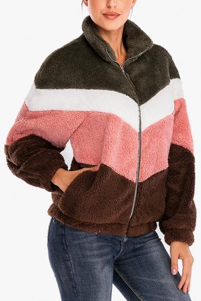 Womens Winter Warm Color Block Long Sleeve Pocket Faux Fur Teddy Zip Up Hoodie, LM564668