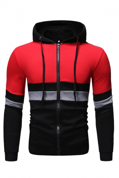 Casual Colorblocked Striped Patchwork Long Sleeve Zipper Pull-Over Hoodie with Pocket
