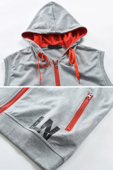 New Arrival Gray LN Letter Printed Red Zipper Gilet Waistcoat Hoodie with Pocket