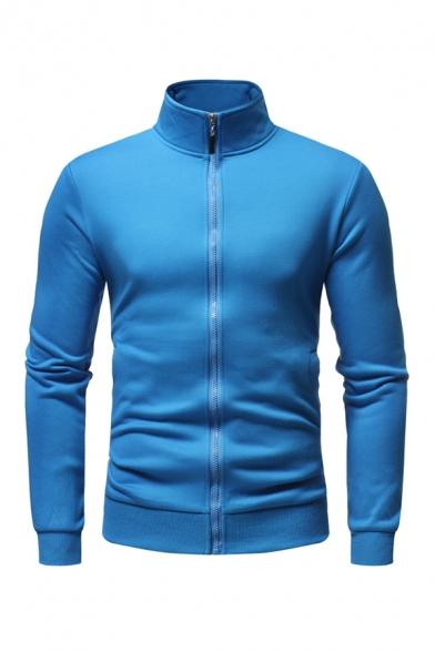 Solid Color Stand Collar Long Sleeves Zipper Thicken Fleece Sherpa Lined Sweatshirt Coat