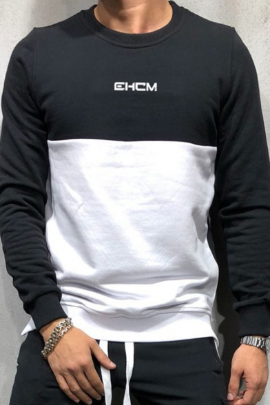 Guys EHCM Letter Printed Two-Tone Round Neck Sport Pullover Sweatshirt