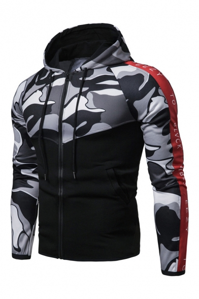 Mens Camo Letter Stripe Panel Long Sleeve Zip Up Pullover Hoodie