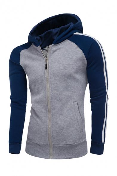 Sportive Color Blocked Striped Raglan Long Sleeve Casual Zip Up Hoodie