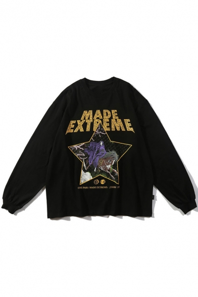 Street Style Cool Letter MADE EXTREME Graphic Printed Long Sleeve Round Neck Black Pullover Sweatshirt