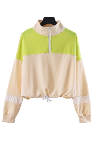 Striped Color Block Insert Stand Up Collar Half Zip Design Drawstring Hem Crop Sweatshirt