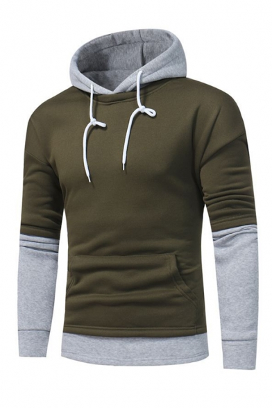 Two Tone Panel Long Sleeve Pouch Pocket Drawstring Hoodie