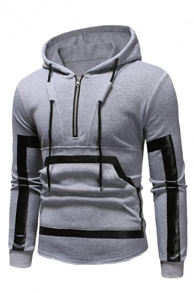 Unique Stripes Patchwork Half Zip Long Sleeve Hoodie with Pocket