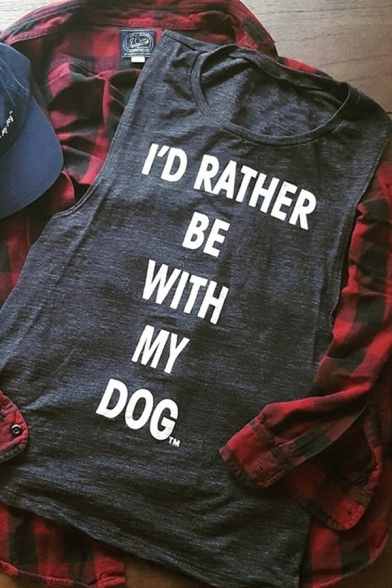 Womens Casual Letter I'D RATHER BE WITH MY DOG Printed Sleeveless Tank Top