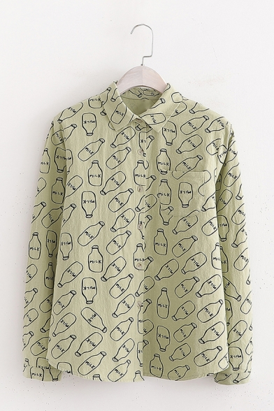All Over Milk Bottle Pattern Long Sleeve Single Breasted Loose Relaxed Shirt