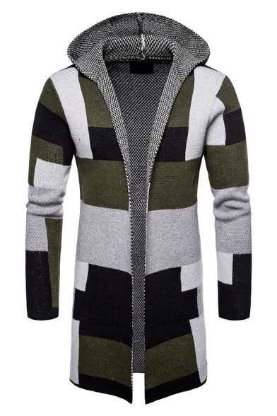 Casual Color Block Panel Open Front Hooded Longline Knitted Cardigan Coat