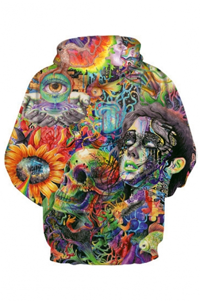 Colorful Floral Skull Trippy Graffiti 3D Print Long Sleeve Unisex Pullover Hoodie