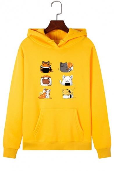 Cute Cartoon Cat Collage Long Sleeve Hooded Hoodie with Pocket