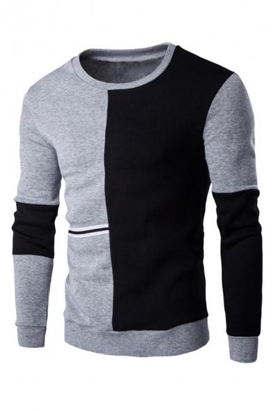 Fashion Colorblocked Panel Selvedge Embellished Long Sleeve Pullover Sweatshirt