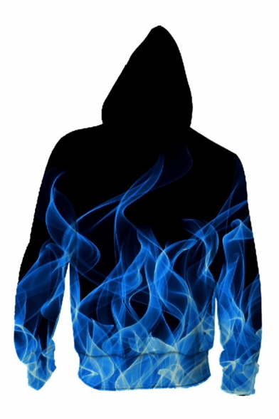 Fire 3D Printed Long Sleeve Zip Up Drawstring Hoodie with Pocket