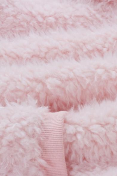 Hot Sale Plain Long Sleeve Pocket Winter Warm Faux Fur Teddy Pink Casual Hoodie