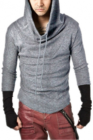 Men's Active Long Sleeve Thumb Hole Color Block Sport Fitted Hoodie