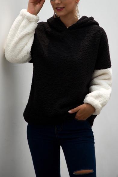 New Popular Color Block Long Sleeve Teddy Casual Cute Cat Ear Hoodie, LM564475, Black;apricot;khaki