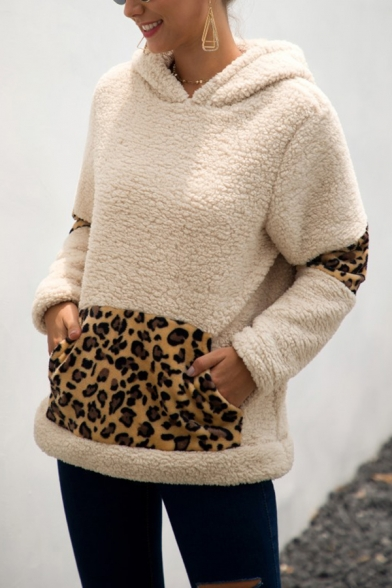 Stylish Winter Warm Faux Fur Teddy Leopard Printed Patchwork Long Sleeves Hoodie With Pocket, LM564477, Black;apricot;khaki