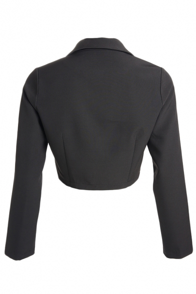 Black Notched Lapel Long Sleeve Push Buckle Belted Casual Blazer Coat for Ladies