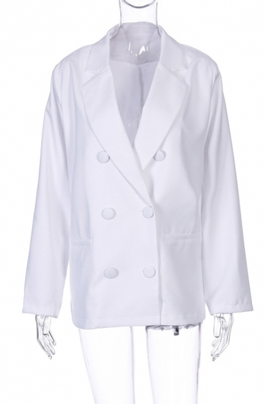 Chic Solid Color Long Sleeve Double-Breasted Baggy Casual Blazer Coat with Pocket