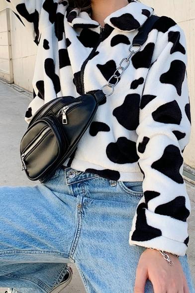 Girls Fashionable Cow Printed Lapel Collar Long Sleeve Zipper Crop Plush Jacket Coat