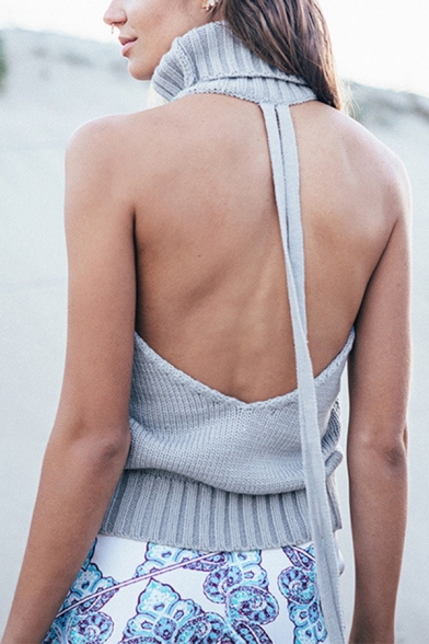 Hot Sexy Backless Roll Neck Sleeveless Cable Knit Slim Short Pullover Sweater for Women