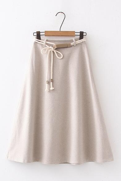 Ladies Elegant Plain High Waist Midi A-Line Wool Skirt with Tied Belt