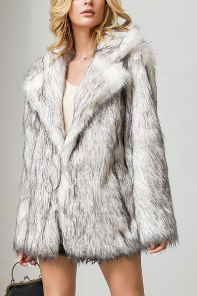 Ladies Elegant White Solid Notched Lapel Collar Long Sleeve Longline Faux Fur Overcoat