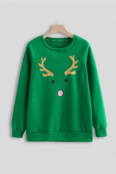 Lovely Christmas Elk Pattern Round Neck Long Sleeve Green Oversized Casual Sweatshirt