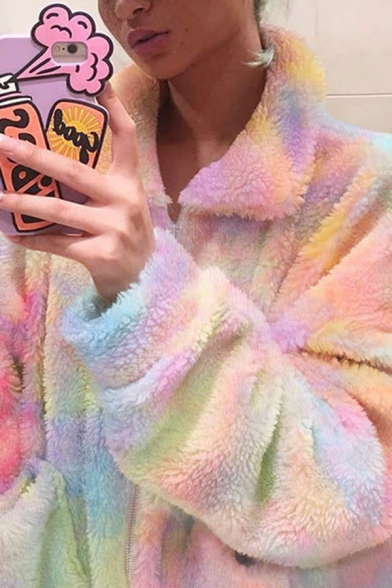 Trendy Colorful Tie Dye Print Lapel CollarLong Sleeve Zip Up Rabbit Fur Loose Coat