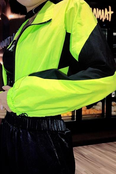 Unique Color Block Long Sleeve Zip Up Drawstring Hem Fluorescent Green Cropped Windbreaker Jacket