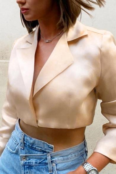 Women's Commuting Apricot Plain Notched Lapel Long Sleeve Cover Placket Cropped Blazer Coat