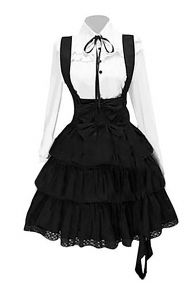 Women's Gothic White Long Sleeve Single-Breasted Shirt & Black Knee Length Ruffle Layered Overall Skirt Two Piece Set Lolita Cosplay Dress