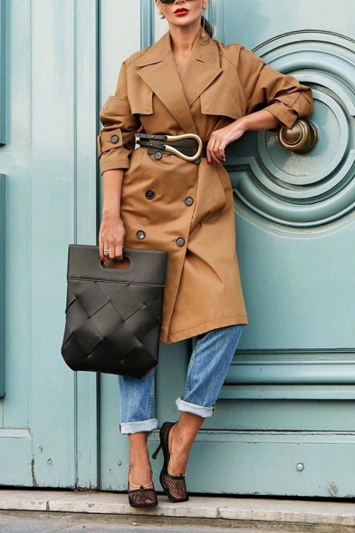 Womens Fall Classic Solid Color Long Sleeve Double Breasted Oversized Longline Trench Coat with Pocket