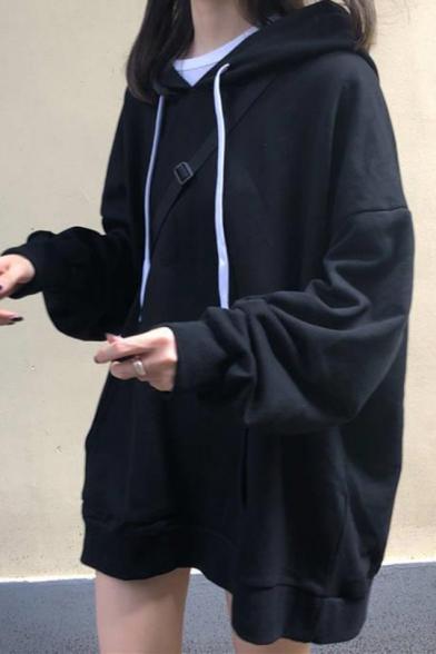 Womens Korean Stylish Plain Long Sleeve Oversized Longline Drawstring Hoodie