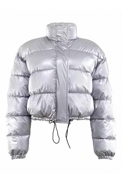 Girls Chic Plain Stand Collar Long Sleeve Drawstring Hem Zipper Cropped Down Jacket Coat